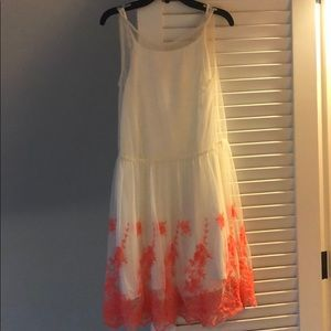 Girls white tulle and orange embroidered dress